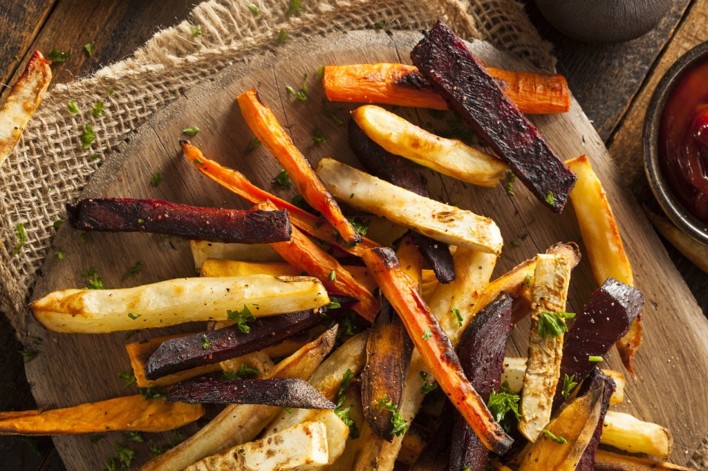 31901697 - oven baked vegetable fries with carrots, potato, and beets